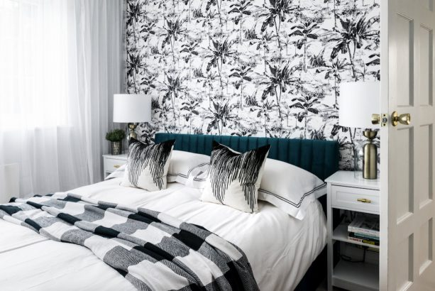 a fascinating contemporary bedroom with the combination of white, black, and teal colors