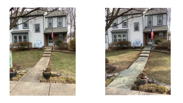 ordinary concrete steps and walkway looks naturally beautiful after getting a makeover with flagstone