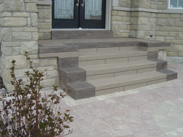 the concrete steps looks more beautiful after the makeover