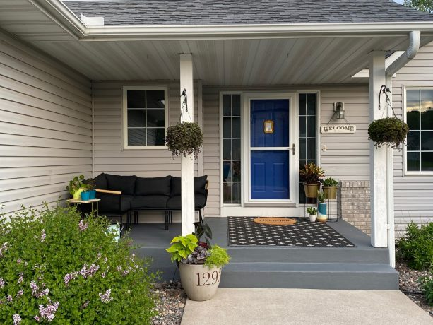 the final result and some decorative additions make the concrete steps and porch looks more beautiful and inviting