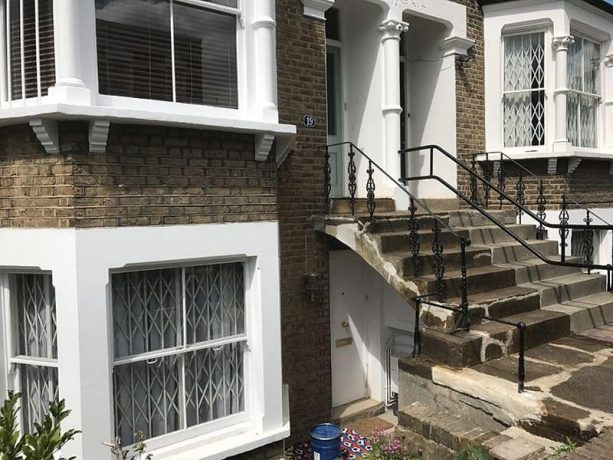 the front concrete steps were damaged and is unpleasant to see