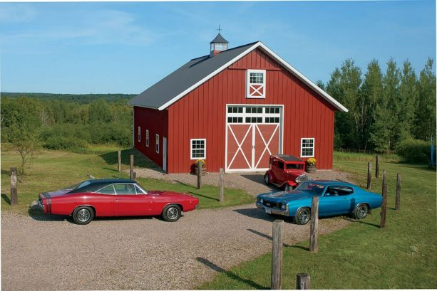 a stunning red pole barn functioned as a garage