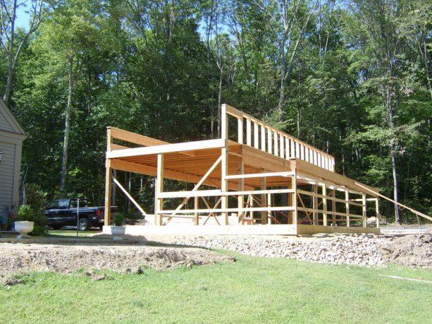 the frame shape of a saltbox pole barn