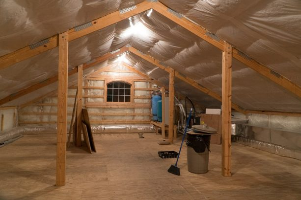 the interior of the commercial pole barn loft