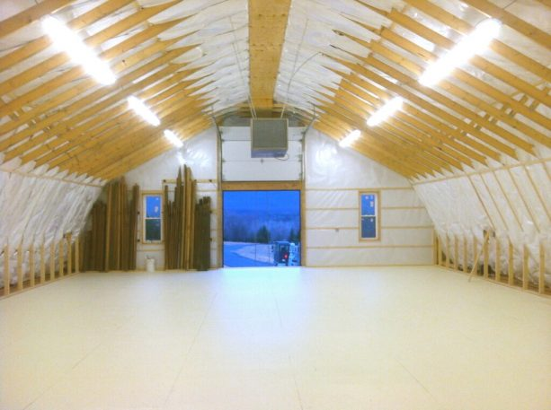 the loft of the pole barn is ample