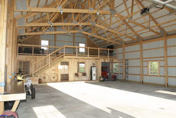 the pole barn garage comes with a lotf and a room right under it