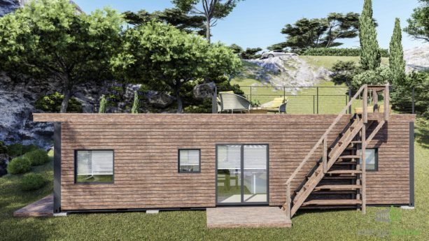 the side view of the tiny house showing the small porch and a wooden staircase to access the rooftop deck