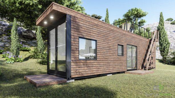 the tiny house has wood siding exterior